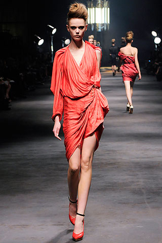 Red lanvin dress, alber elbaz, draoed, red dress, spring summer fashion 2010