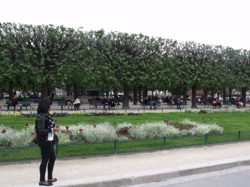 The flower gardens surrounding the Notre Dame de Paris