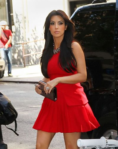 Kim Kardashian wears red Alexander McQueen dress