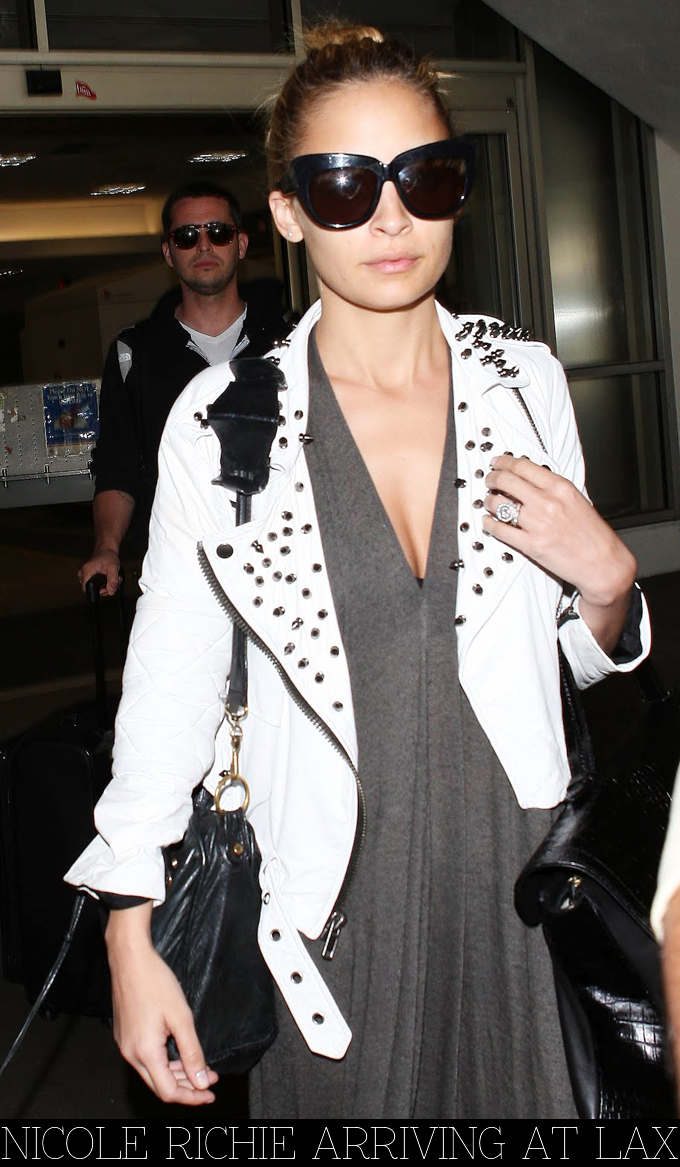 Nicole Richie wearing white leather studded Simone jacket