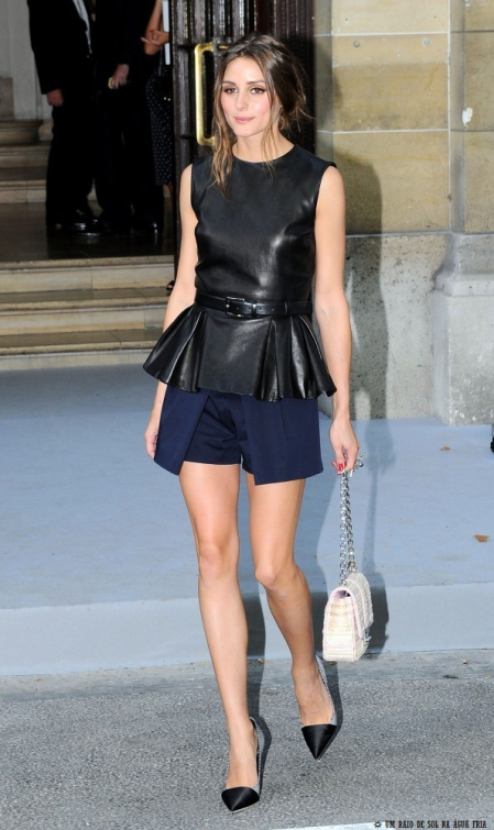 Olivia Palermo in black and navy blue