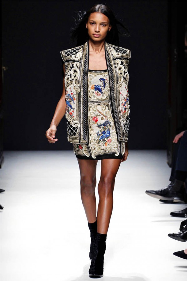 Balmain-Fall-Winter-2012-RTW embellished dress and waistcoat runway look
