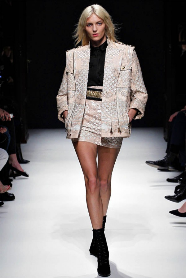 Balmain winter 2012-13 cream skirt and jacket ensemble