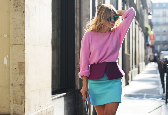 Pink sweatshirt with blue peplum skirt