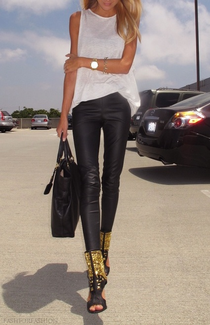 gold and black boots