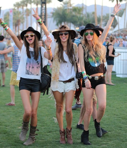 Miranda Kerr, Alessandra Ambrosio and Candace Swanepoel at Coachella